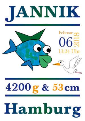 Namensbild zur Geburt – Sternzeichen Fisch – Junge