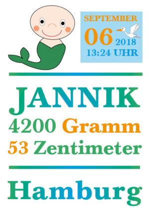 Namensbild zur Geburt - Sternzeichen Jungfrau - Junge