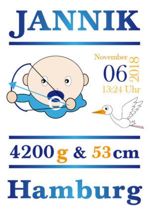 Namensbild zur Geburt – Sternzeichen Schütze – Junge
