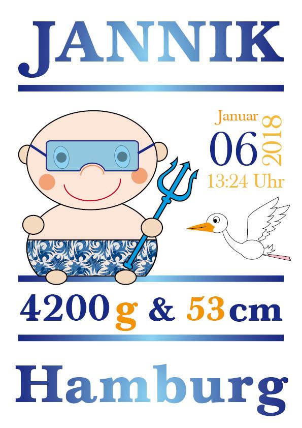 Namensbild zur Geburt – Sternzeichen Wassermann – Junge