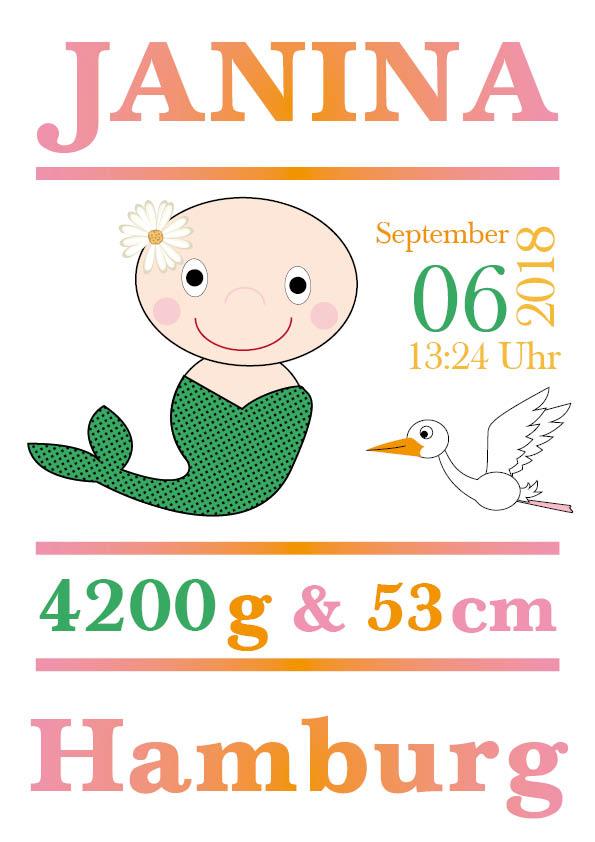 Namensbild zur Geburt - Sternzeichen Jungfrau - Mädchen