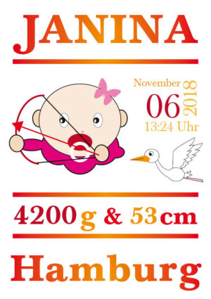 Namensbild zur Geburt – Sternzeichen Schütze – Mädchen