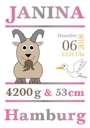 Namensbild zur Geburt – Sternzeichen Steinbock – Mädchen
