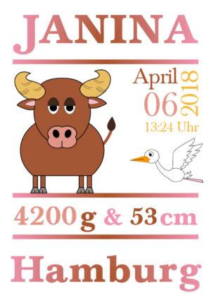 Namensbild zur Geburt - Sternzeichen Stier - Mädchen