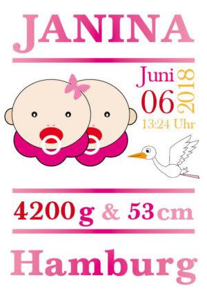 Namensbild zur Geburt – Sternzeichen Zwilling – Mädchen
